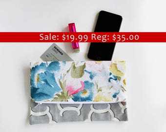 SALE - Foldover Clutch - Clutch Bag - Floral Clutch Purse - Spring - Fall Clutch - Bridesmaid Gift - Gift for Her