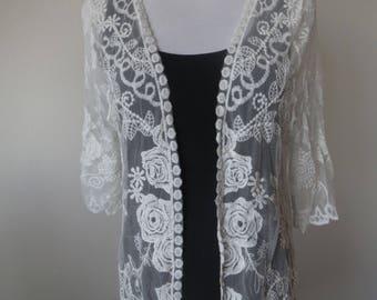 White lace cardigan | Etsy