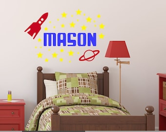 Space Wall Decal - Rocket Ship Decal - Boy Bedroom Decal - Boy Nursery Decal - Outer Space Name Decal - Boy Name Decal - Kids Name Decal