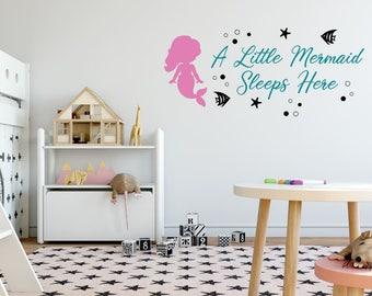 A Little Mermaid Sleeps Here Wall Decal - Mermaid Wall Decal - Baby Girl Room Decor - Little Girl Mermaid - Girls Wall Decor - Mermaid Room