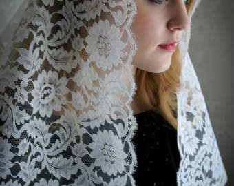 Evintage Veils~  Lovely Pure Cream White French Alencon  Our Lady True  Vintage  Lace Chapel Veil Mantilla