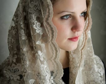 Evintage Veils~ Our Lady Soft Taupe  Embroidered Lace Chapel Veil Mantilla Latin Mass Infinity Veil