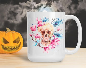 Watercolor Skull Mug, Colorful Skeleton Cup, Water Color Halloween Skeleton Decoration, Halloween Gothic Table Decor, Skeleton Bones Mug Cup