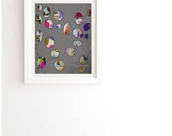 Art Print, framed, circles, polka dots, mixed media collage, bedroom, wall decor, apartment, modern art, wall art, contemporary