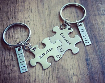 Hand Stamped Personalized Couples Puzzle Piece Keychains - Anniversary Keychains - Wedding Gift - Couples Keychain -