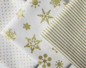 SALE Gold Sparkle Fat Quarter Bundle of 3 Gold Sparkle Cotton by Riley Blake Designs 100% Quilter's Cotton Gold Sparkle Cotton