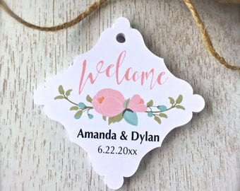 Welcome tags, wedding favor tags, destination wedding favors, hotel bag tags, wedding gift bag tags, welcome labels - set of 24(tg51)