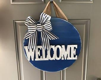 Welcome Sign For Front Door, Welcome Door Hanger, Welcome Wreath, Front Door Decor, All Year Door Hanger, Wood Sign, Welcome Door Decor
