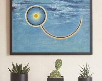 Comet Art, Occult Art Prints, Magic Paintings, Magic Art, William Blake, Watercolor Sky,  Meteor Art Print, Painted Meteor, Book of Miracles