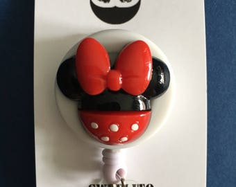 Disney© Mickey or Minnie Mouse™ ~ ID Holder ~ Badge Reel ~ Belt Clip ~ Alligator Clip~ Retractable Badge ~ Gifts Nurses Doctors Teachers