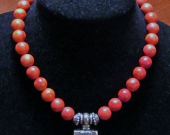 Old Sponge Coral and Silver Necklace Marked - Large and Chunky