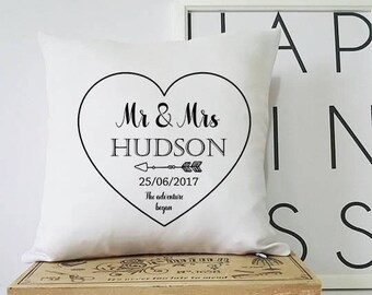gift for couple, personalised wedding gift, wedding gift, personalised cushion, personalised wedding present, pillow, cushion, personalised