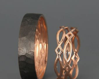 14k rose gold black and bright celtic wedding rings set handmade 14k rose gold celtic - Celtic Wedding Rings