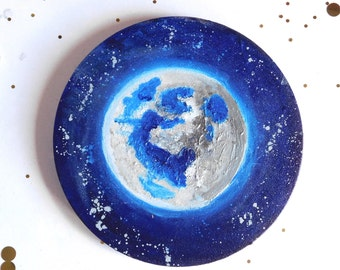 Night Air - Original cosmic, abstract painting on circular canvas 20cm diameter