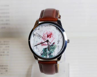 Vintage Rose watch,Vintage Style Leather Watch, Women Watches, Girlfriend watch