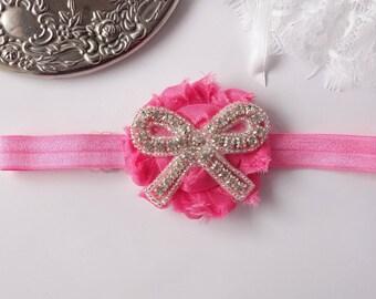 infant pink headband/ baby headbands/ christening headband/ girls headband/ girls headbands/ pink newborn headband/ adjustable headband