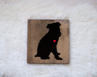 Hand Painted Brussels Griffon Silhouette with Heart and Name on Stained Wood, Gift for Dog People, New Puppy Gift, Brussels Griffon Gift