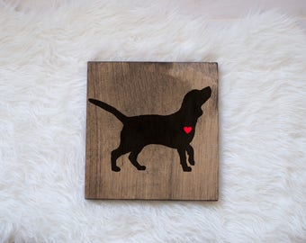 Hand Painted Beagle Silhouette on Stained Wood, Dog Decor, Dog Painting, Gift for Dog People, New Puppy Gift, Beagle Silhouette, Beagle Art