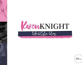 Premade Pink Header Design | Custom Blog Header | Custom Blog Logo | Green Logo Design | Green Blogger Logo | Pink Wordpress Theme Logo