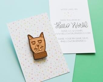 Wood Lapel Pin, Cat Pin, Cute Kitty Pin, Pin Flair, Sweater Pin, Jacket Pin, Laser Engraved Pin, Gift for Cat Lovers, Animal Lover Lapel Pin