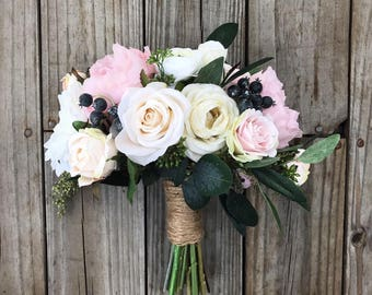 Boho Bouquet, Blush Bouquet, Bridal Bouquet, Wedding Bouquet, Champagne Bouquet