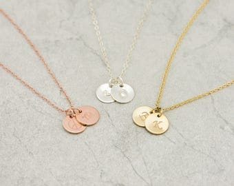 1,2,3,4,5 Initial Disc Necklace/14K Gold filled/Rose gold/Sterling Silver Disc necklace,Initial Charm,Gold Disc Pendant,Christmas Gift