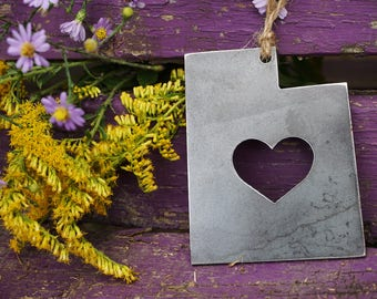 Love Utah State Rustic Raw Steel Christmas Ornament UT Metal State Heart Host Gift Keepsake Travel Wedding Favor By BE Creations