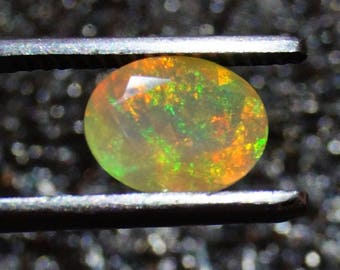 50% OFF - Faceted Ethiopian Opal Stone - 9x7x5 mm  Faceted Ethiopian Opal Oval Cut Stones (GPO-52)