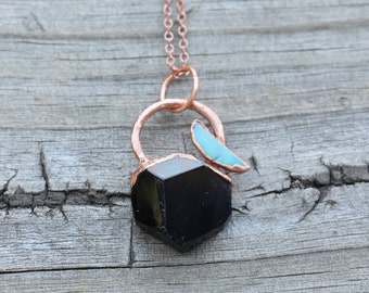 Black Tourmaline and Opal Electroformed Copper Pendant. Unique Raw Black Tourmaline necklace with raw crescent shaped Australian Opal