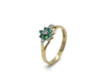 Vintage Emerald, Emerald Ring, Diamond Ring, Engagement Ring, Emerald Diamond Ring, Emerald Engagement, Emerald and Diamond, Vintage Ring