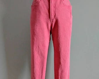SALE vintage 90's high waisted ankle length denim pants in coral