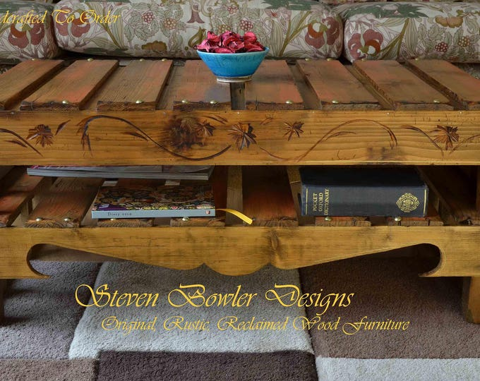 FREE UK SHIPPING Rustic Reclaimed Wood Coffee Table Medium Oak Stain & Burnt Orange Autumn Gold Metallic Highlights Under Shelf Storage