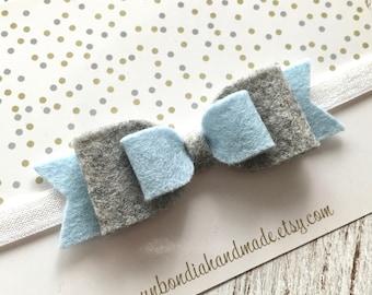 Pastel blue felt bow headband, baby girl hair bow, soft elastic headband, newborn wool felt headband, toddler hair accessories, gray bow