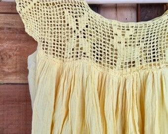 Sunny Vintage 70s Cotton Crochet dress