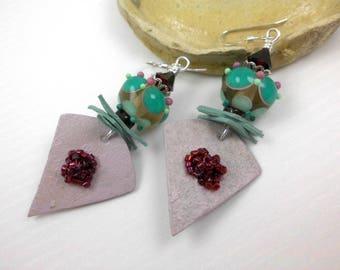 Handmade lampwork bead earrings, ooak lampwork earrings, artisan dangle earrings, boho, mixed media earrings