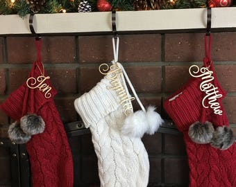 Stocking Decoration,  Name Tag, Custom Name Tag, Present Name Tag, Christmas Decoration, Christmas Stocking Name, Gold Name Tag, Silver
