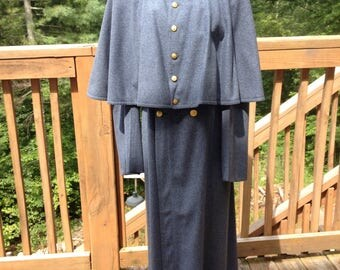 """1970s Caped Military Academy Long Coat Blue-Gray Wool Double Breasted Brass Buttons 42"""" Chest"""