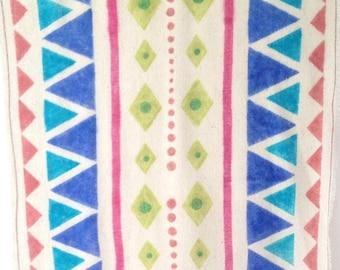 Ethnic Scarf. Ethnic print scarf. Tribal scarf. Print by hand. Silk . Ethnic fabric. Navajo Indians. Stencil