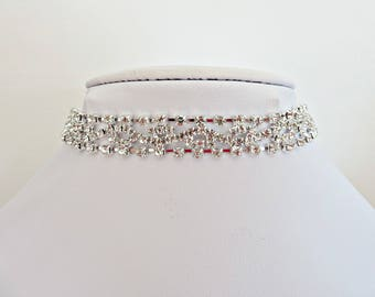 Silver diamante choker, Silver rhinestone choker, Bridal choker, Wedding jewellery, Bling jewellery, Choker necklace, Made in the UK