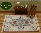 Dollhouse rug, Needlepoint kits, Dollhouse kit, Dollhouse miniatures kit, Cross stitch kit, William Morris rug, 112 scale, Cross stitch rug