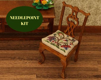 1:12 Dollhouse Chair Kit, Cross Stitch Dollhouse Chair Kit, Petite Point  Chair