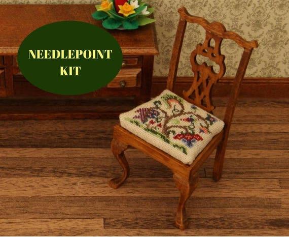 1:12 Dollhouse Chair Kit, Cross Stitch Dollhouse Chair Kit, Petite Point Chair  Kit, Dollhouse Dining Room Chair, 1/12 Dollhouse Chair Kit From ...
