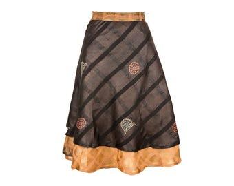 Silk Wrap Skirt, Wrap Skirt, Unique Clothing, Travel Skirt, Boho Skirt, Reversible Black Skirt, Plus Size Skirt, Silk Wrap Skirt, Silk Skirt