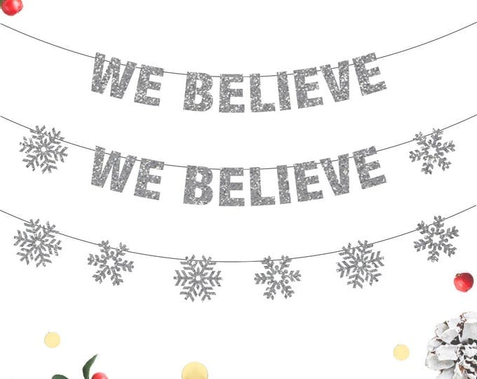 We Believe Christmas Banner, We Believe Banner, Santa Christmas Decor, Christmas Banners, Santa Holiday Decor