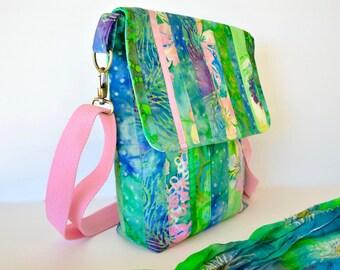Green batik cross body bag, patch worked bali bag for journals, casual shoulder bag,
