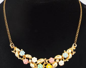 1930s - Unsigned KTF TRIFARI Vintage Colored Flowers Necklace