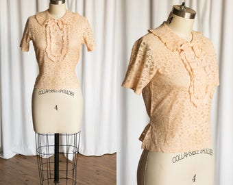 Elwyn blouse | vintage 30s blouse | 1930s lace top | blush pink lace 1930s blouse | 1920s 1930s pink lace top | 20s antique lace blouse