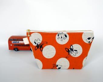 Cosmetic bag, orange zipper pouch, makeup bag, doglovers gift, cosmetic pouch, medium zipper pouch, make up pouch