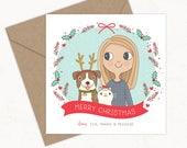 Custom Christmas Card  |  Family Portrait Illustration  | 5x7  |  148x148 mm