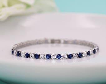 Sapphire Blue Bracelet, wedding bracelet, cz bracelet, cubic zirconia bracelet, bridal jewelry, blue wedding bracelet 535338409